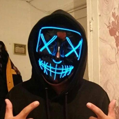 kid wearing a led purge mask