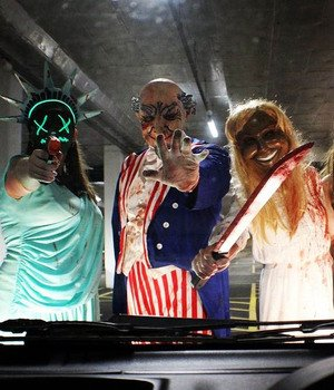 uncle sam mask with 3 people